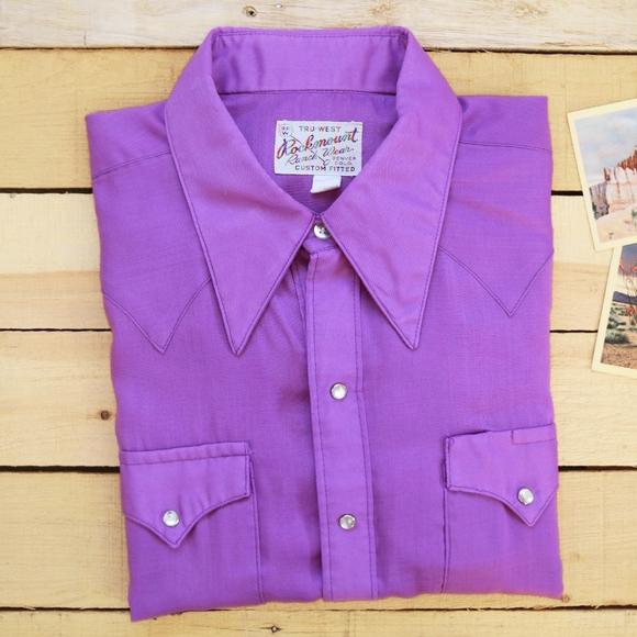 e9a86f0e Rockmount Ranch Wear Shirts | 70s Rockmount Mens Xl 17 Lilac Purple ...
